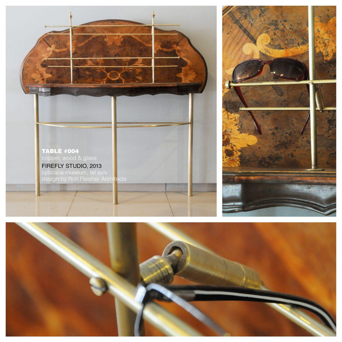 שולחן תצוגה -שלד מפליז ומשטח עליון מעץ