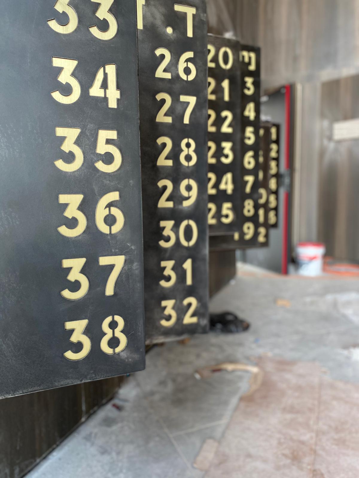 Blackened aluminum mailbox and brass numbers